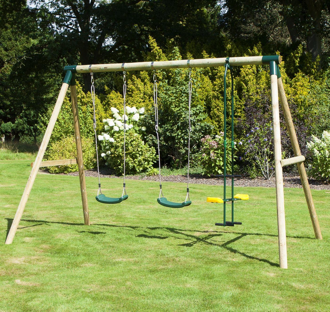 Rebo Neptune Wooden 3 In 1 Garden Swing Set For Just 179 95
