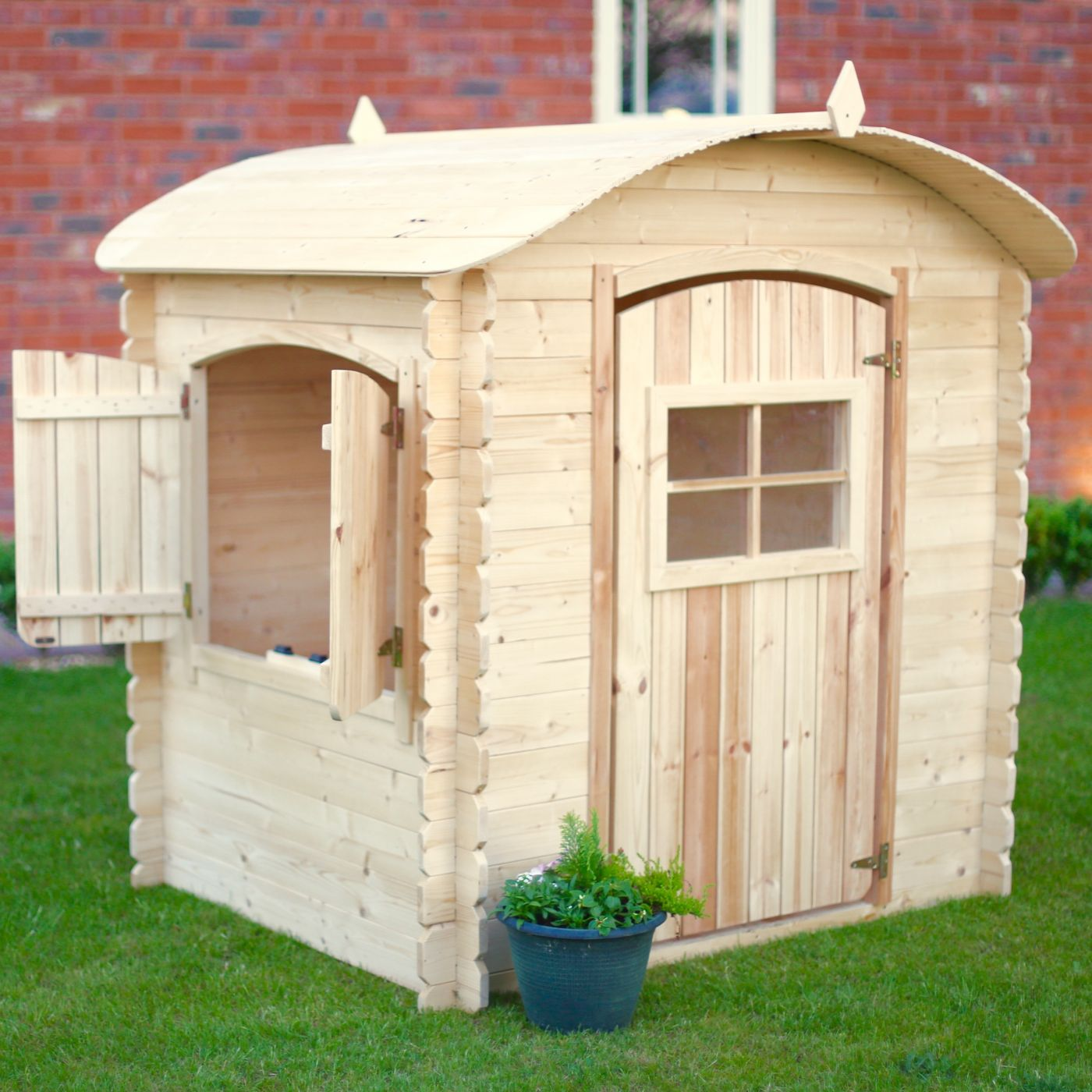Rebo Bow Top Childrens Wooden Playhouse Log Cabin For Just 22995