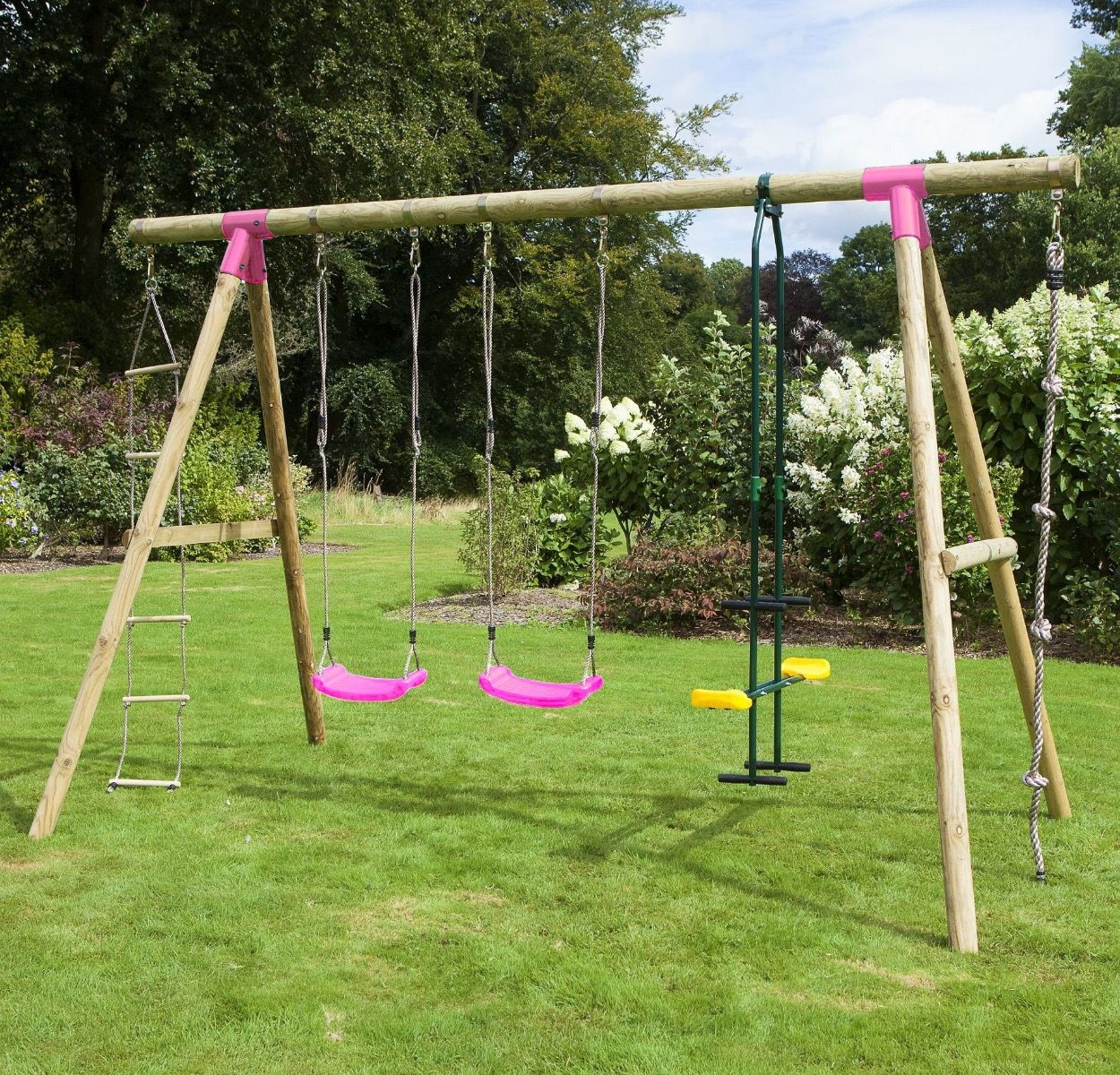 Rebo Wooden Garden Swing Sets Saturn Pink For Just 19995