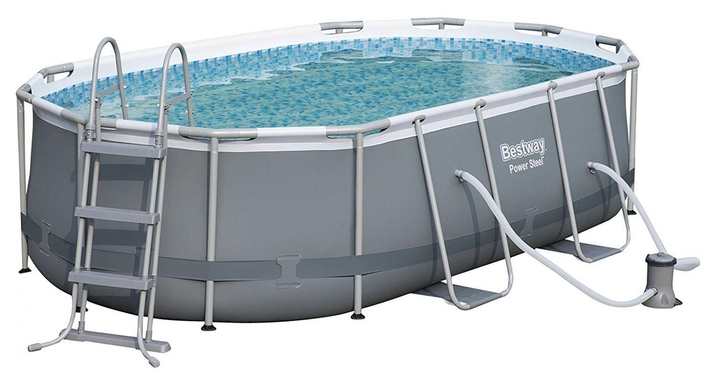 betaalbare prijs word nieuw best verkocht Bestway Power Steel™ Oval 4.24m x 2.50m x 1.00m Pool (7,250L) with  Flowclear™ Filter Pump BW56620